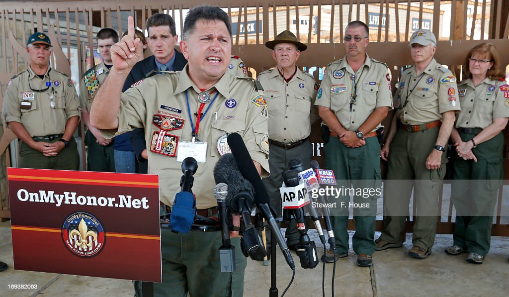 Boy Scout leader John Stemberger, founder of OnMyHonor.net, speaks to reporters at the Gaylord Texan Resort May 23, 2013 in Grapevine, Texas. The Boy Scouts of America today ended its policy of prohibitting openly gay youths from participating in Scout activities, while leaving intact its ban on gay adults and leaders. The OnMyHonor.net website says it supports 'Scouting's timeless values and their opposition to open homosexuality in the Scouts.