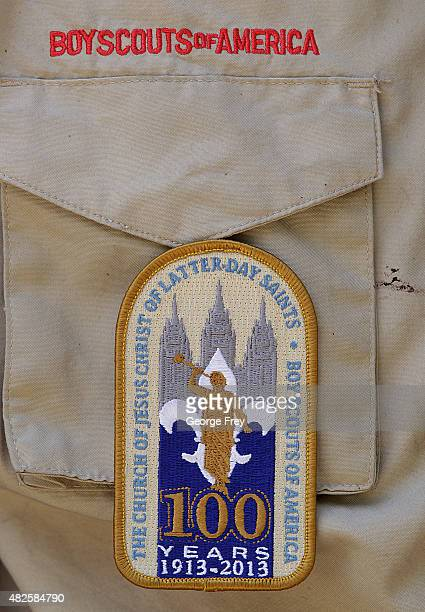 Boy Scout patch commemorating the 100 year anniversary with the Mormon Church is displayed on a scout uniform at camp Maple Dell on July 31 2015...