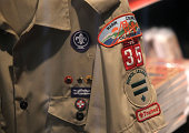 Boy Scout uniform hangs in a store at the Marin Council of the Boy Scouts of America on July 27 2015 in San Rafael California The national executive...