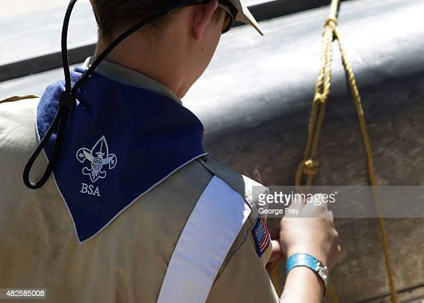 Boy Scout works on a canoe at camp Maple Dell on July 31 2015 outside Payson Utah The Mormon Church is considering pulling out of its 102 year old...