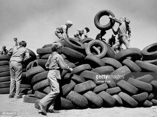 Boy Scouts Learn How To Identify Retreadable Tires Learning which tires can be reused was first step in recycling drive Credit The Denver Post