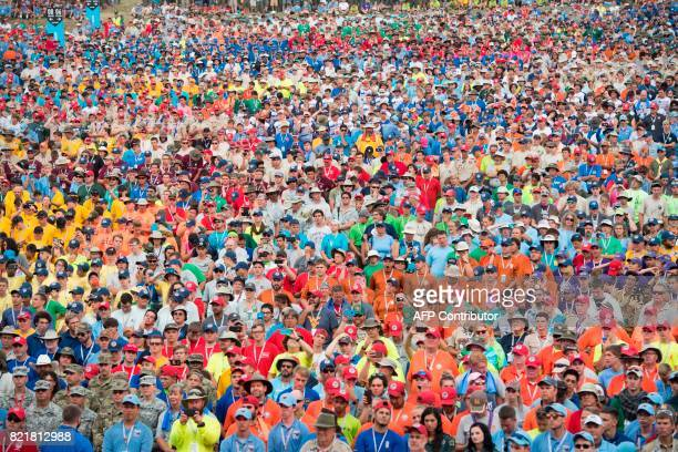 Boy Scouts listen as US President Donald Trump speaks during the National Boy Scout Jamboree at Summit Bechtel National Scout Reserve in Glen Jean...