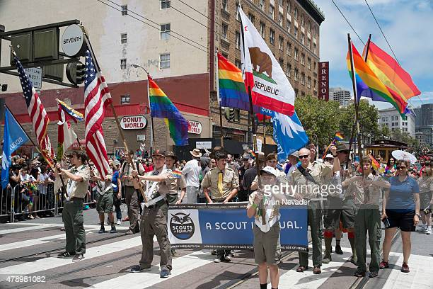 Boy Scouts march during the 2015 San Francisco Pride Parade on June 28 2015 in San Francisco California