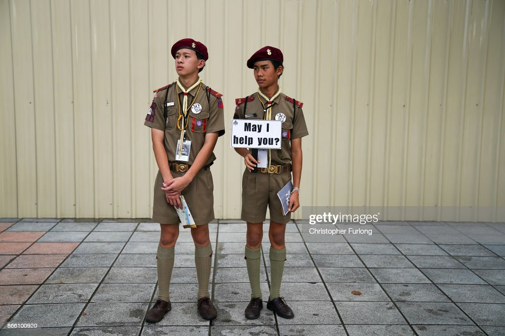 Boy Scouts volunteer their services as people attend the funeral of the late Thai King Bhumibol Adulyadej on October 25, 2017 in Bangkok, Thailand. The funeral of the much loved king is taking place around Bangkok's Grand Palace. The kingdom has been preparing for the cremation of the former king for over a year following his death at the age of 88 on October 13, 2016. The ceremonies will take place over five days with the cremation of the king's body in a grand Royal Crematorium on October 26th.