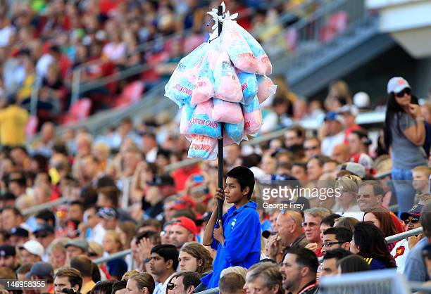 A boy sells cotton candy during a game against Real Salt Lake and the Los Angeles Galaxy during the first half of an MLS soccer game June 20 2012 at...