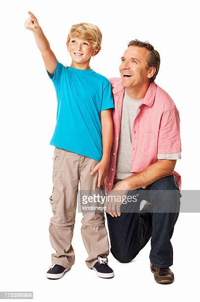 Boy Showing Something To His Father - Isolated