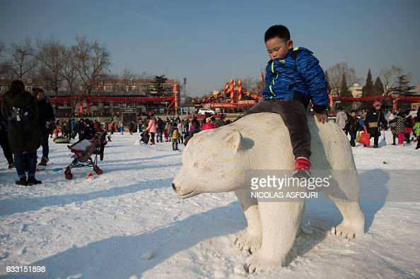 A boy sits on a sculpture of a polar bear at an amusement fair in a park during the Spring Festival holidays in Beijing on January 31 2017 Millions...