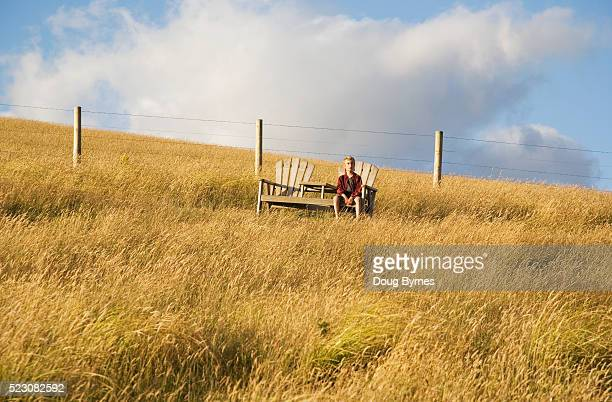 Boy sitting alone in field