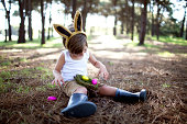 Boy sitting in forest with nest of easter eggs