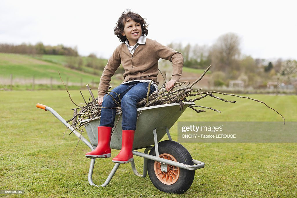 Boy sitting on a wheelbarrow with firewood in a field : Stock Photo