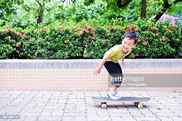 Boy skateboarding.