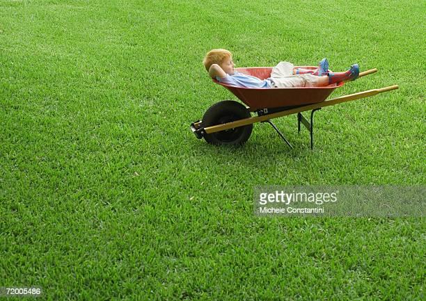 Boy sleeping in wheelbarrow