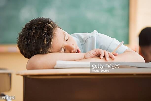 Boy sleeping on desk