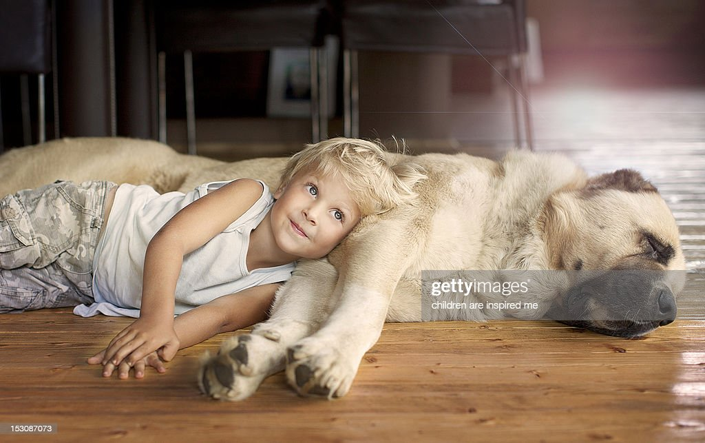 Boy sleeping with his dog : Foto stock