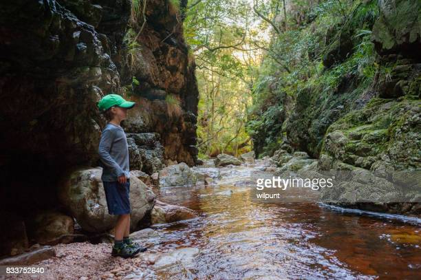 Boy standing in canyon