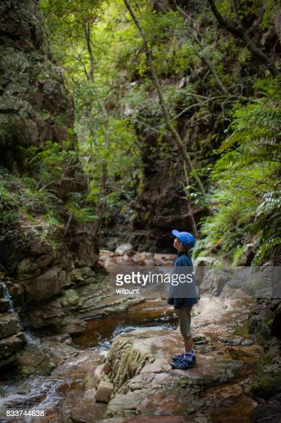 Boy standing looking up in canyon