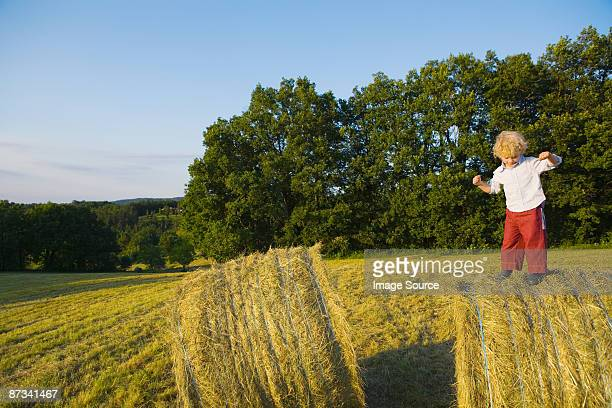 A boy standing on a haystack