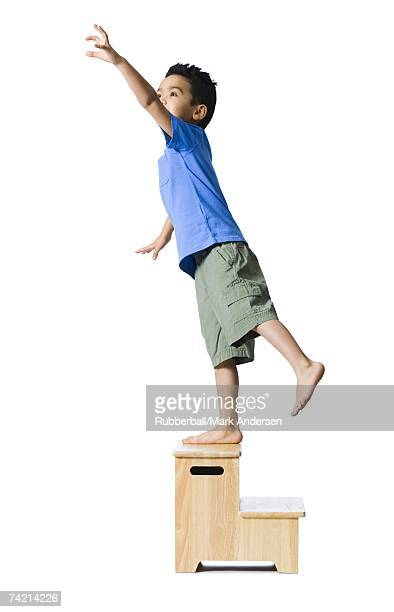 Boy standing on wooden step reaching