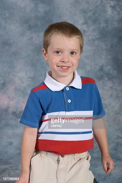 Boy Standing School Pose Close-up