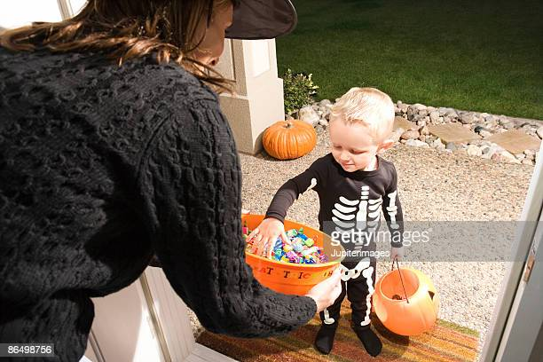 Boy trick or treating