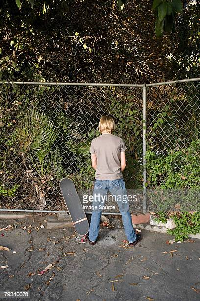A boy urinating
