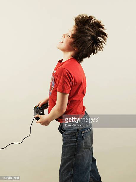 boy using games console