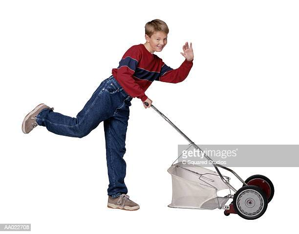 Boy Using Push Mower