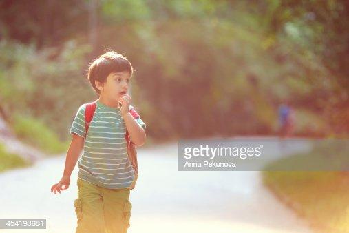 Boy walking in a park looking away : Foto de stock