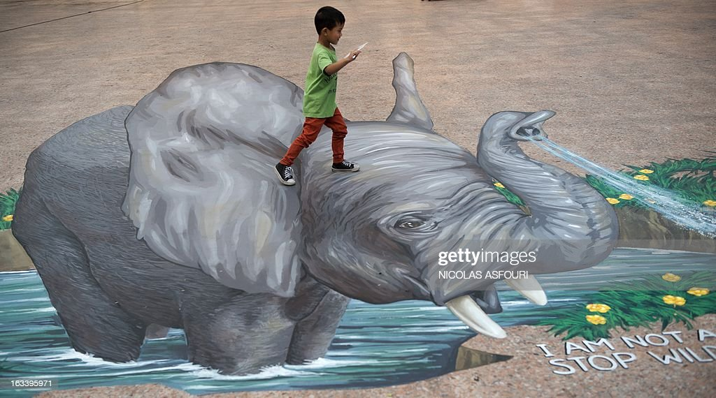 A boy walks on a chalk drawing of an elephant designed by artist Remko van Schaik at the Wat That Thong temple in Bangkok on March 9,2013. Conservationists have urged Internet giant Google to remove thousands of advertisements promoting products made from endangered whales and elephants. Campaign group The Environmental Investigation Agency said on March 5 that it had written to Google CEO Larry Page last month appealing for the removal of more than 1,400 ads promoting whale products and 10,000 ads for elephant ivory products on its Japanese shopping site. AFP PHOTO/ Nicolas ASFOURI