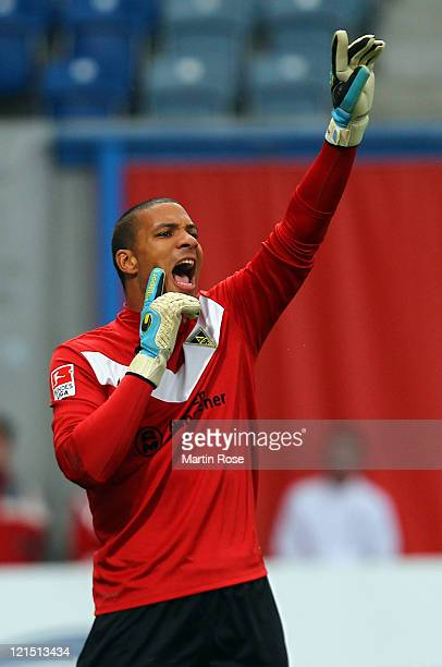 Boy Waterman goalkeeper of Aachen gives instructions during the Second Bundesliga match between FC Hansa Rostock and Alemannia Aachen at DKB Arena on...