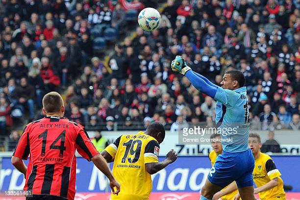 Boy Waterman of Aachen does a saves during the Second Bundesliga match between Eintracht Frankfurt and Alemannia Aachen at Commerzbank Arena on...