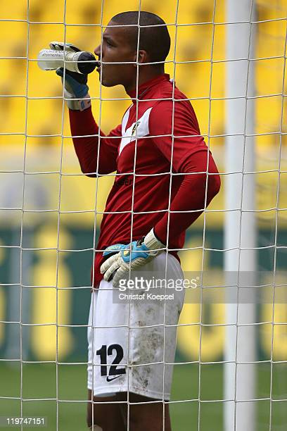 Boy Waterman of Aachen looks dejected after getting the second goal during the Second Bundesliga match between Alemannia Aachen and Eintracht...