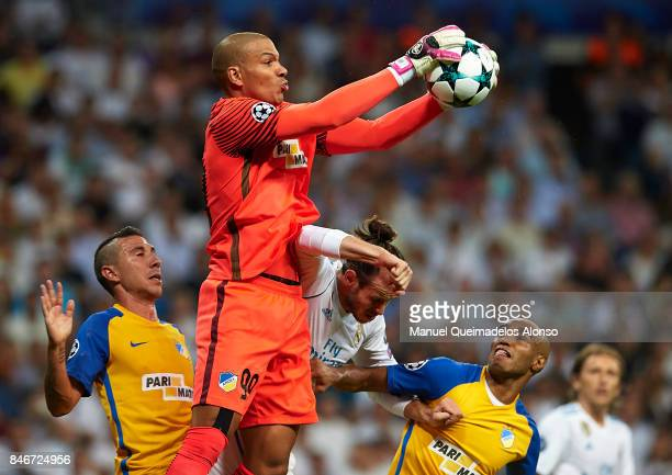 Boy Waterman of APOEL in action during the UEFA Champions League group H match between Real Madrid and APOEL Nikosia at Estadio Santiago Bernabeu on...