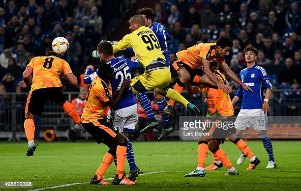 Boy Waterman of APOEL jumps for the ball during the UEFA Europa League Group K match between FC Schalke 04 and APOEL FC on November 26 2015 in...