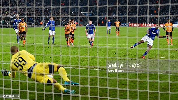 Boy Waterman of APOEL saves a penalty of Dennis Aogo of Schalke during the UEFA Europa League Group K match between FC Schalke 04 and APOEL FC on...