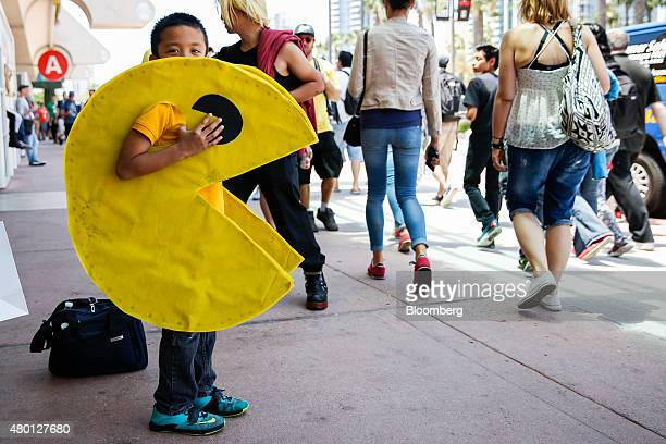 A boy wearing a PacMan costume attends the ComicCon International convention in San Diego California US on Thursday July 9 2015 ComicCon...