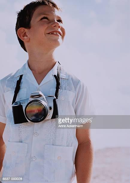 Boy Wearing Camera