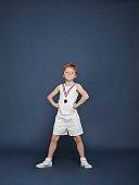 Boy wearing medal