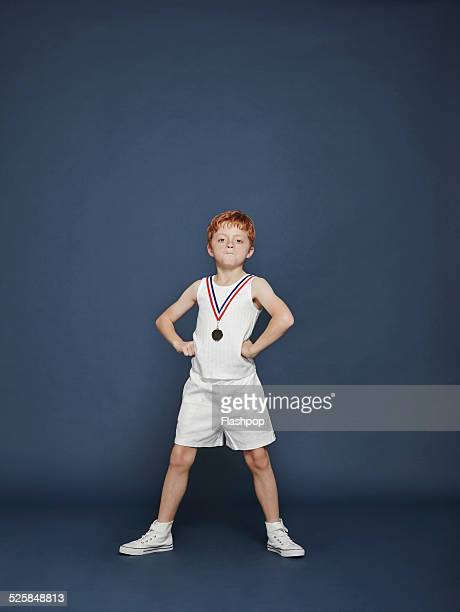 Boy wearing medal