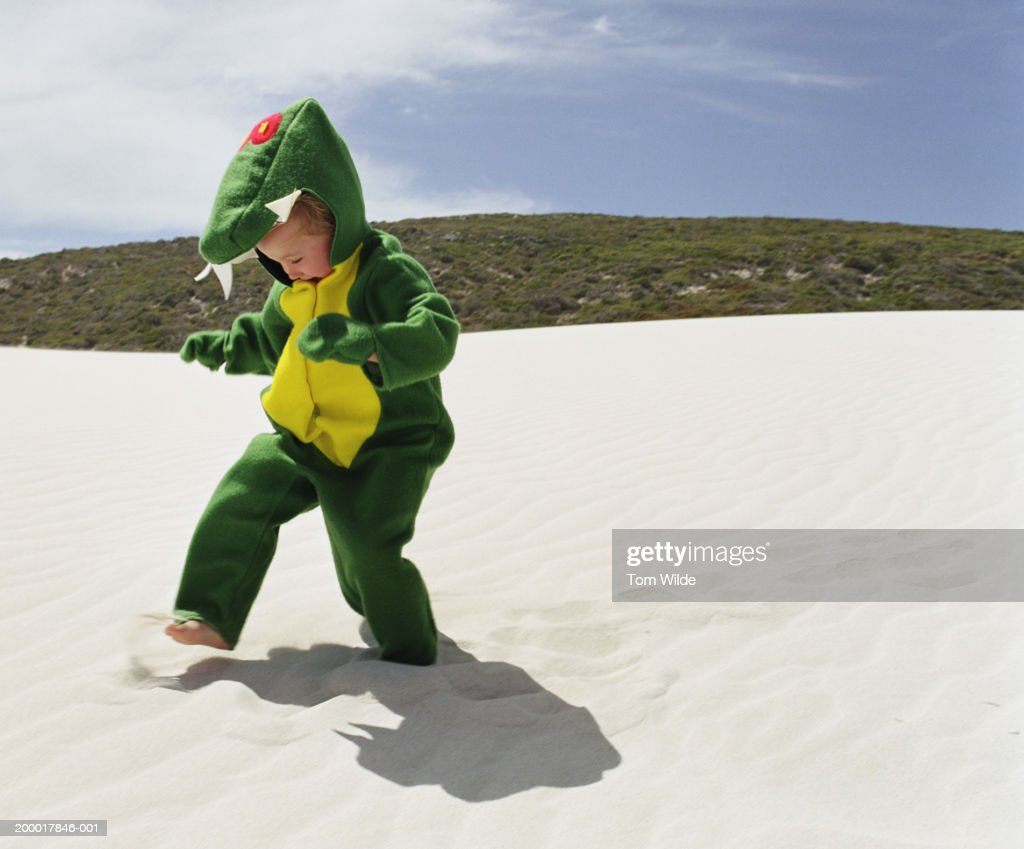 Boy (2-4) wearing monster outfit on beach