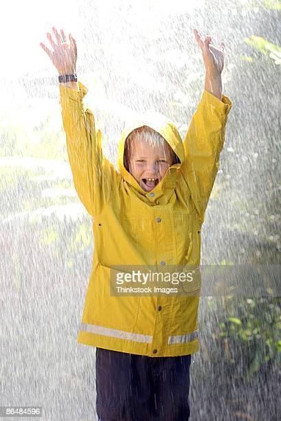 Boy wearing raincoat in rain