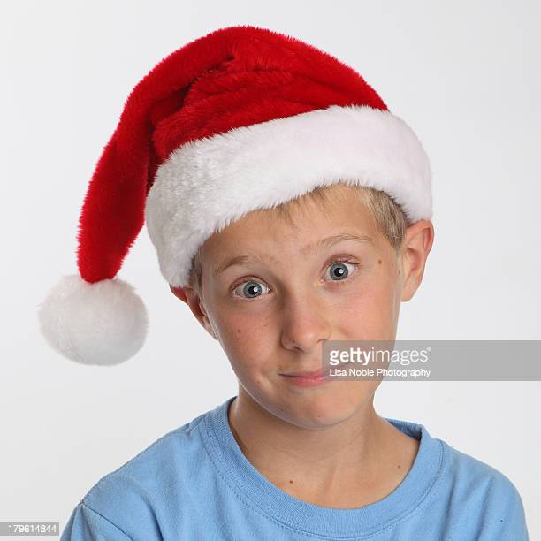 Boy wearing Santa Hat