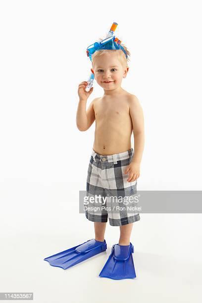A Boy Wearing Snorkeling Gear