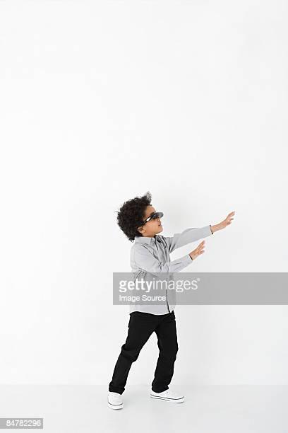 Boy wearing virtual reality headset