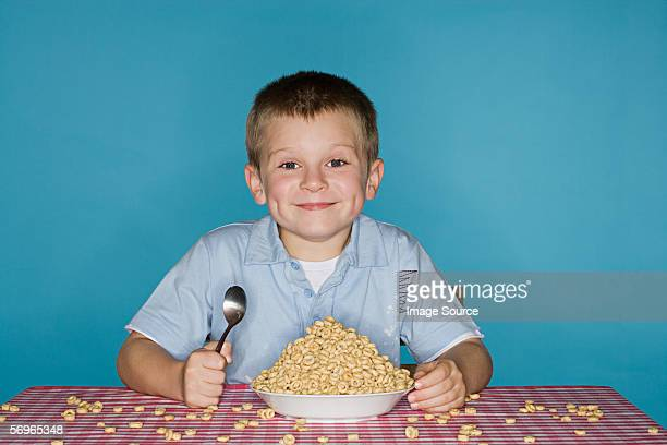 Boy with a big bowl of cereal