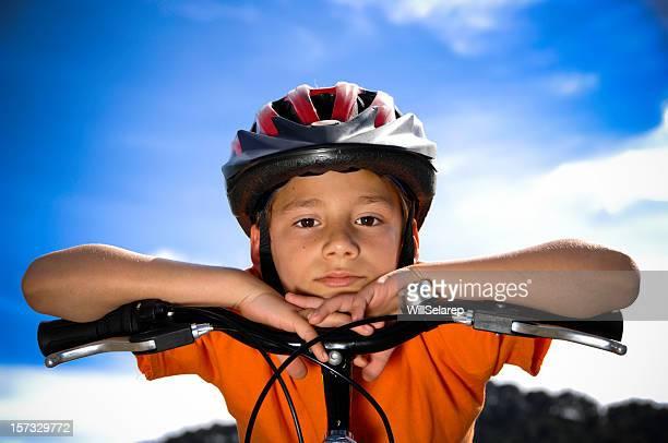 Boy with a bike helmet
