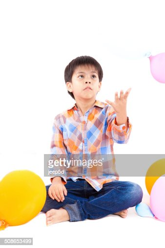 boy with balloons : Stock Photo