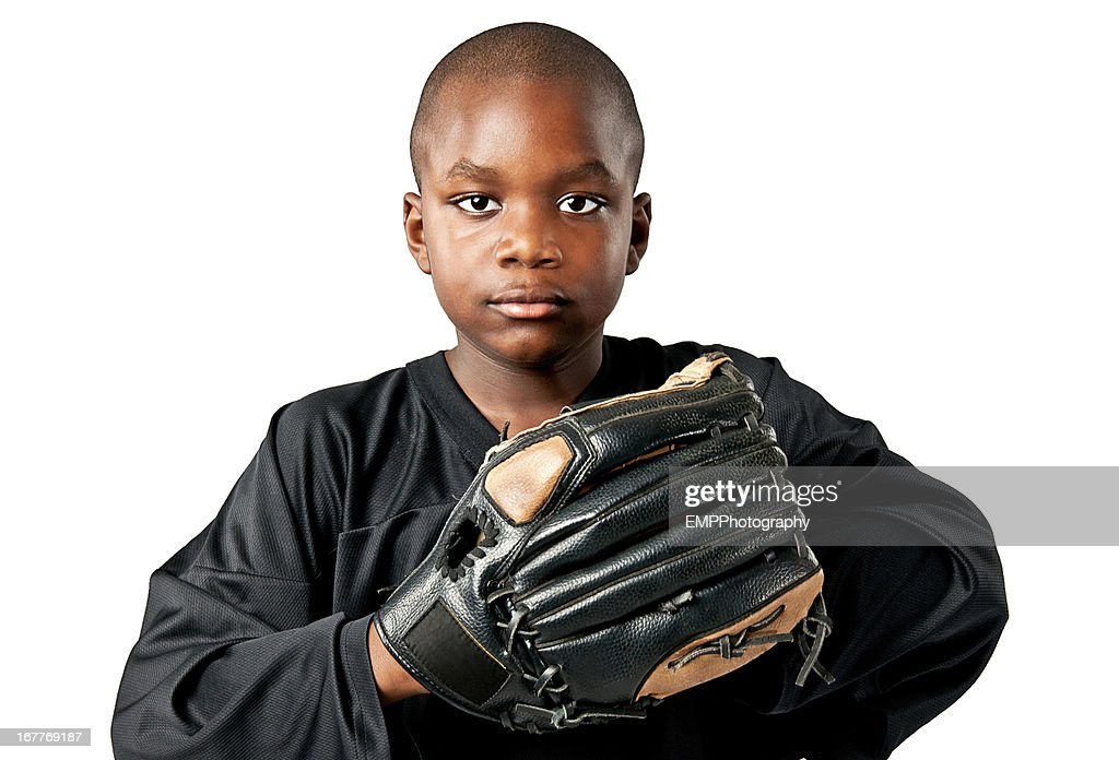 Boy with Baseball Glove Isolated on White