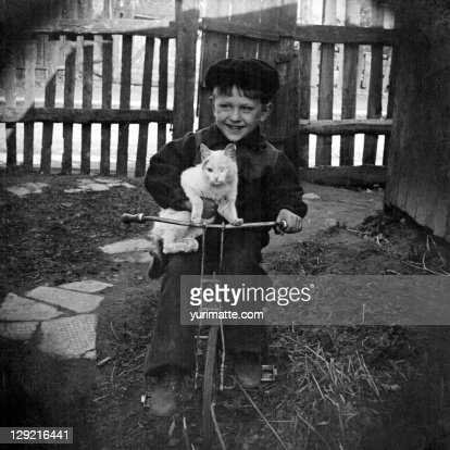 Boy with bike and cat : Stock Photo