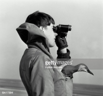 Boy (15-17) with bird in pocket looking through binoculars (B&W) : Stock Photo
